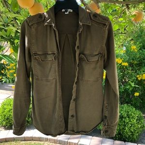 James Perse army button up shirt 0